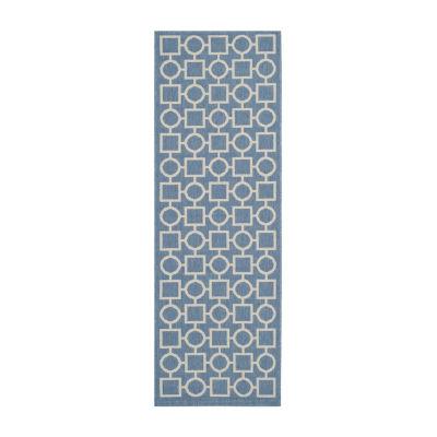 Safavieh Courtyard Collection Drew Geometric Indoor/Outdoor Runner Rug