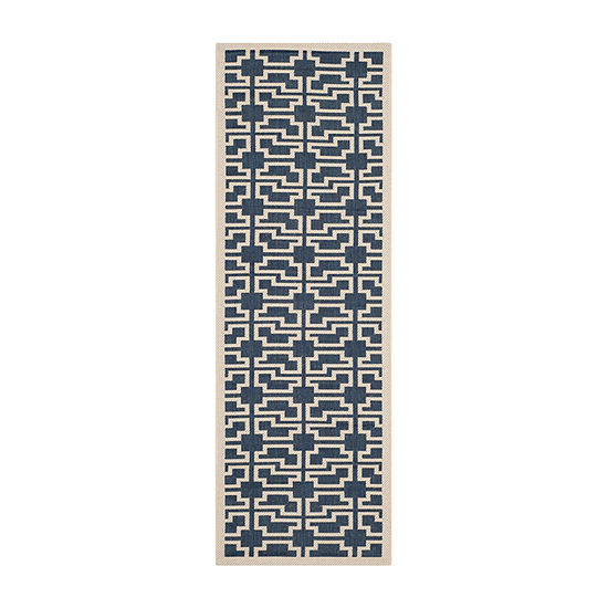 Safavieh Courtyard Collection Eddie Geometric Indoor/Outdoor Runner Rug