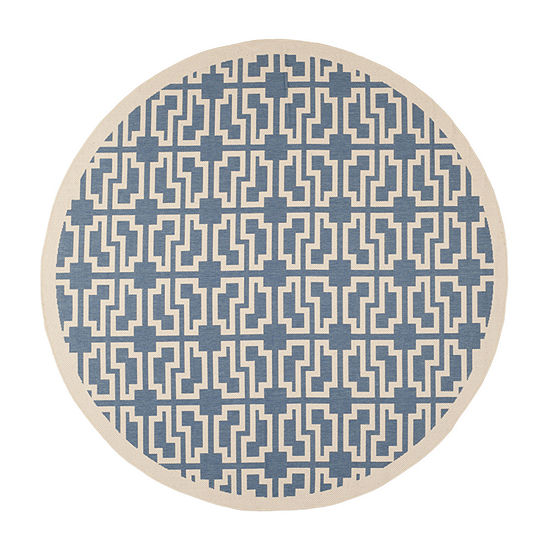 Safavieh Courtyard Collection Eddie Geometric Indoor/Outdoor Round Area Rug