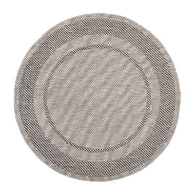Safavieh Courtyard Collection Lorna Stripe Indoor/Outdoor Round Area Rug