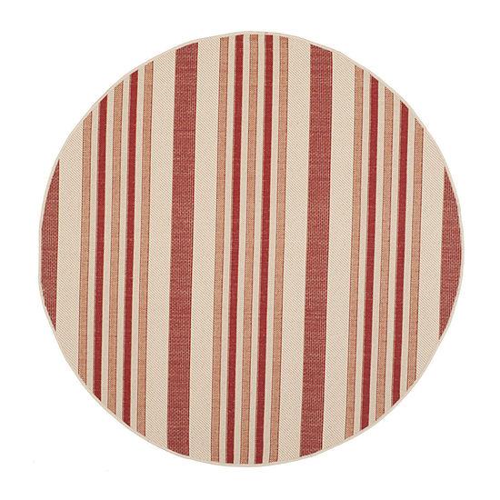 Safavieh Courtyard Collection Ercan Stripe Indoor/Outdoor Round Area Rug