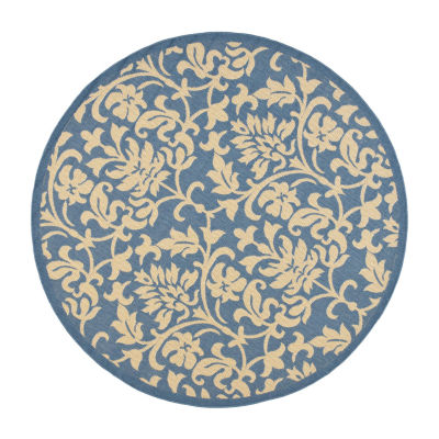 Safavieh Courtyard Collection Lyla Floral Indoor/Outdoor Round Area Rug