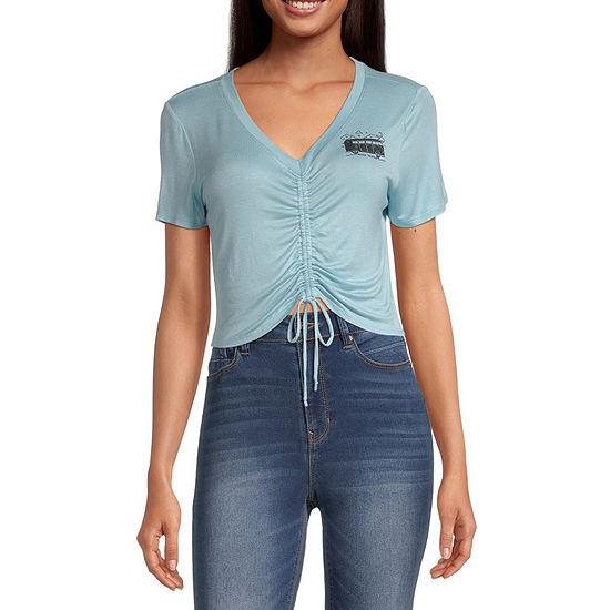 Miken-Juniors Womens V Neck Short Sleeve Graphic T-Shirt