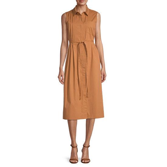 Worthington Sleeveless Midi Shirt Dress