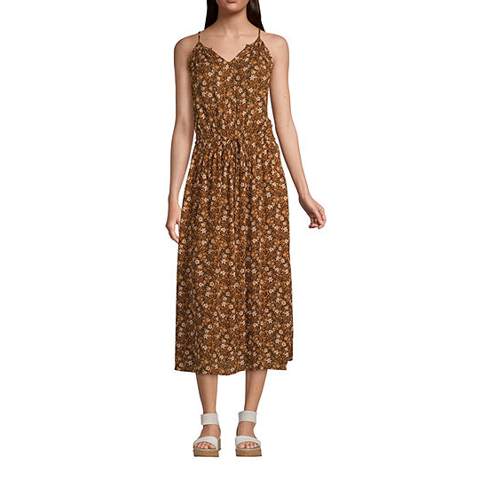 a.n.a-Tall Womens Sleeveless Midi Geometric Shift Dress