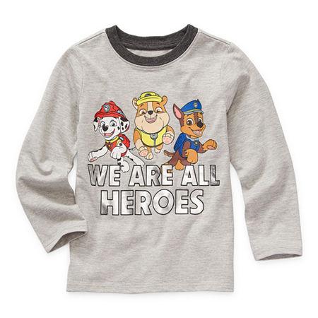 Okie Dokie Toddler Boys Crew Neck Paw Patrol Long Sleeve Graphic T-Shirt, 4t , Gray