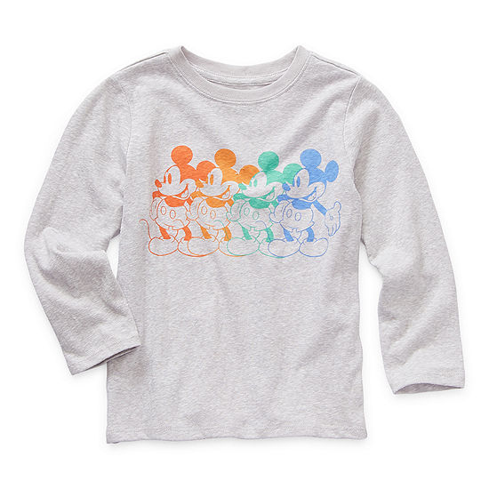 Okie Dokie Toddler Boys Crew Neck Mickey Mouse Long Sleeve Graphic T-Shirt