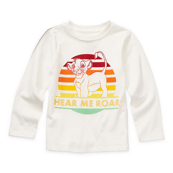 Okie Dokie Toddler Boys Crew Neck The Lion King Long Sleeve Graphic T-Shirt