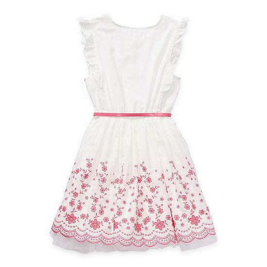 Knit Works Little & Big Girls Belted Sleeveless Shirt Dress