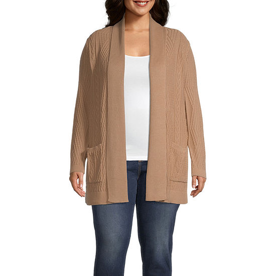 St. John's Bay-Plus Womens Long Sleeve Open Front Cardigan