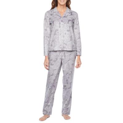 Adonna Womens Pant Fleece Pajama Set 2-pc. Long Sleeve