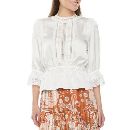 1900 -1910s Edwardian Fashion, Clothing & Costumes Ryegrass Womens Round Neck 34 Sleeve Peplum Top X-small  White $39.20 AT vintagedancer.com