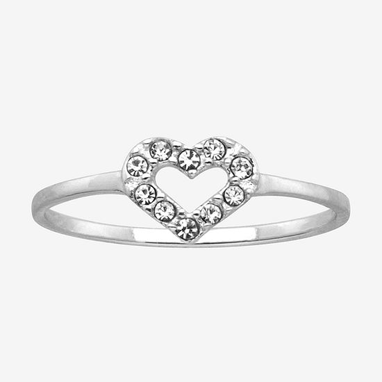 Itsy Bitsy Clear Sterling Silver Heart Delicate Ring