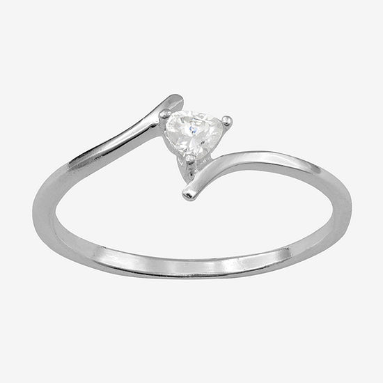 Itsy Bitsy Heart-Shaped Cubic Zirconia Sterling Silver Bypass Ring