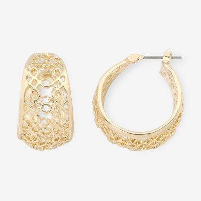 Liz Claiborne® Gold-Tone Openwork Hoop Earrings