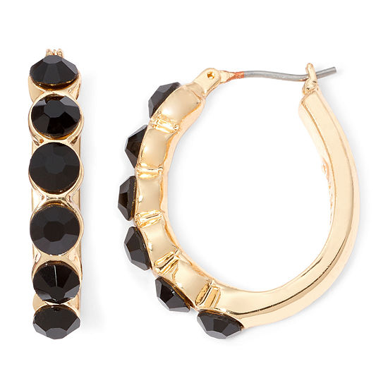 Monet® Gold-Tone Black Hoop Earrings