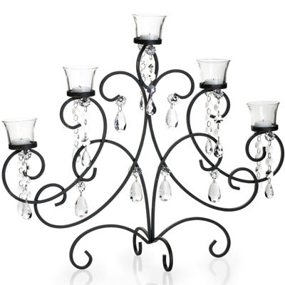 Black with Gold Maison Scroll 5-Light Centerpiece