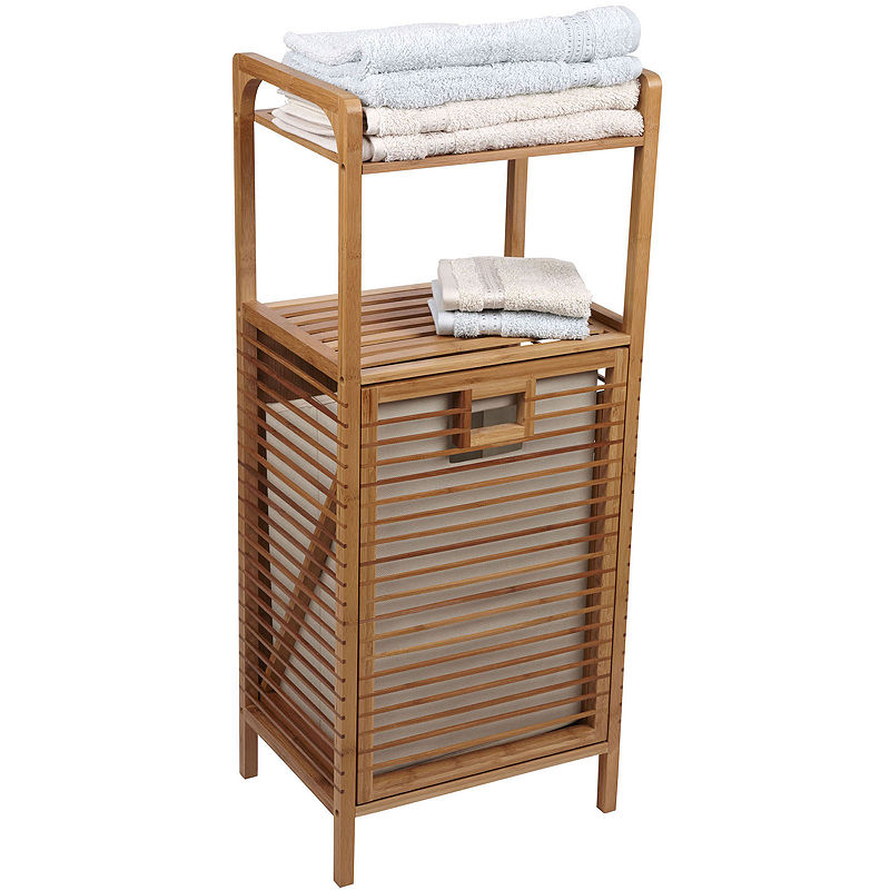 Upc 040071792282 household essentials bamboo slatted tilt out laundry hamper - Tilt laundry hamper ...