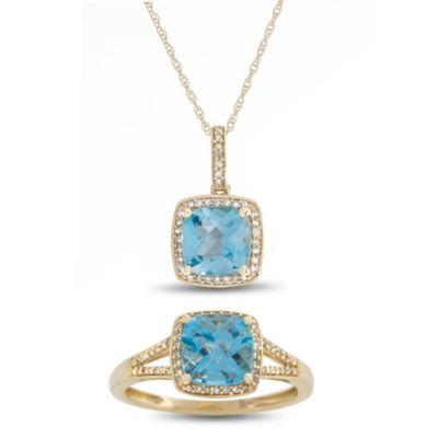 Womens 2-pack 1/4 CT. T.W. Blue Blue Topaz 10K Gold Jewelry Set