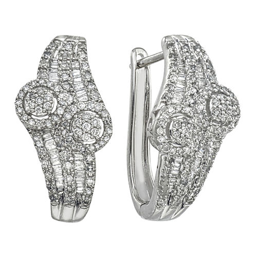 Diamond Blossom 1 CT. T.W. White Diamond 10K Gold Hoop Earrings