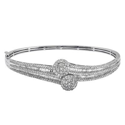 Diamond Blossom Womens 2 CT. T.W. White Diamond 10K Gold Bangle Bracelet