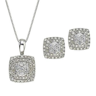 Diamond Blossom Womens 2pc White Diamond 10K Gold Jewelry Set