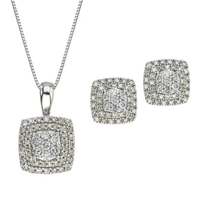 Diamond Blossom Genuine White Diamond 10K Gold 2-pc. Jewelry Set