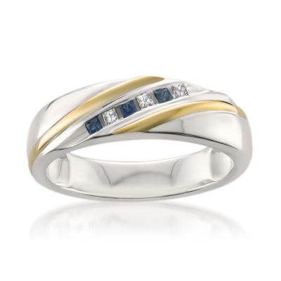 Mens 6 Mm 1/5 CT. T.W. White Diamond 14K Gold Wedding Band