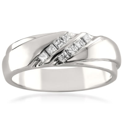 Mens 6.5 Mm 1/4 CT. T.W. White Diamond 14K Gold Wedding Band