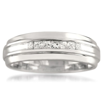Mens 6.5 Mm 1/4 CT. T.W. White Diamond 14K Gold Wedding Band