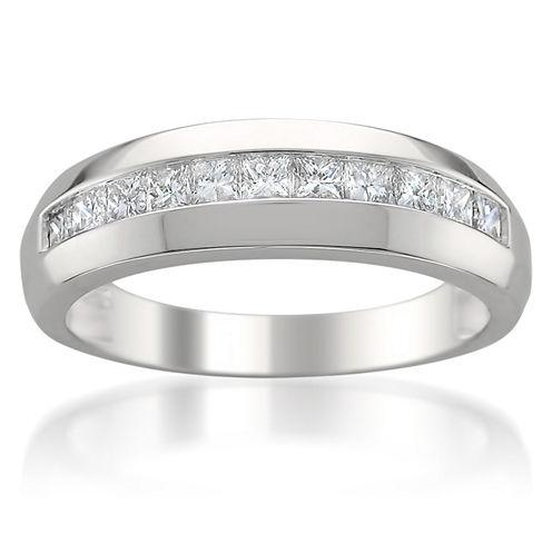 Mens 1 CT. T.W. White Diamond 14K Gold Wedding Band