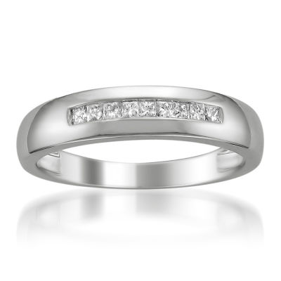 Mens 5 Mm 1/4 CT. T.W. White Diamond Platinum Wedding Band