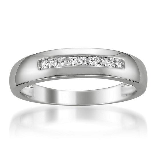 Mens 5 Mm 1/4 CT. T.W. Genuine White Diamond Platinum Wedding Band