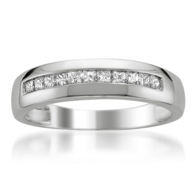 Mens 5 Mm 1/2 CT. T.W. White Diamond Platinum Wedding Band