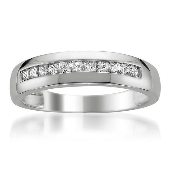 Mens 5 Mm 1/2 CT. T.W. Genuine White Diamond Platinum Wedding Band
