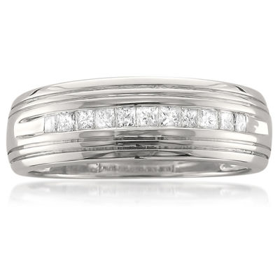 Mens 6.5 Mm 1/2 CT. T.W. White Diamond Platinum Wedding Band