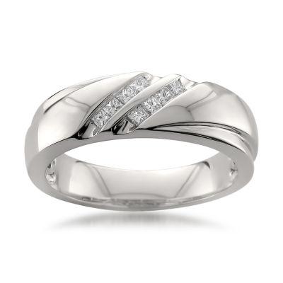 Mens 6.5 Mm 1/4 CT. T.W. White Diamond Platinum Wedding Band