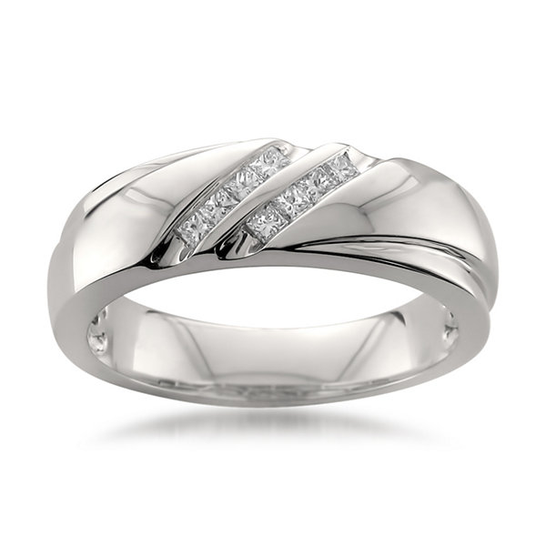 Mens 1/4 CT. T.W. White Diamond Platinum Wedding Band