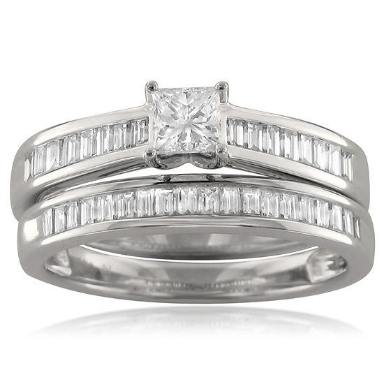 Womens 1 Ct Tw Genuine White Diamond 14k Gold Bridal Set