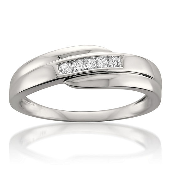 Mens 6 Mm 1 4 Ct Tw Genuine White Diamond 14k Gold Wedding Band