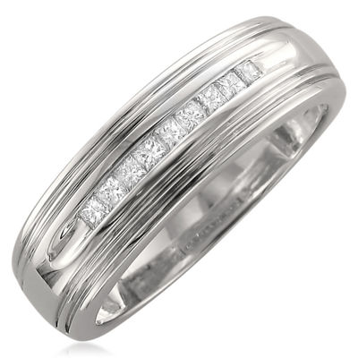 Mens 6 Mm 1/4 CT. T.W. White Diamond 14K Gold Wedding Band