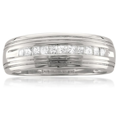 Mens 1/2 CT. T.W. White Diamond 14K Gold Wedding Band