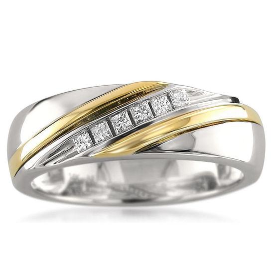 Mens 6 Mm 1/5 CT. T.W. Genuine White Diamond 14K Gold Wedding Band