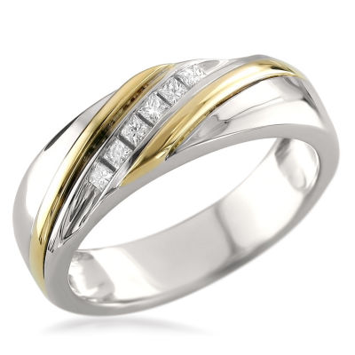 Mens 1/5 CT. T.W. White Diamond 14K Gold Wedding Band