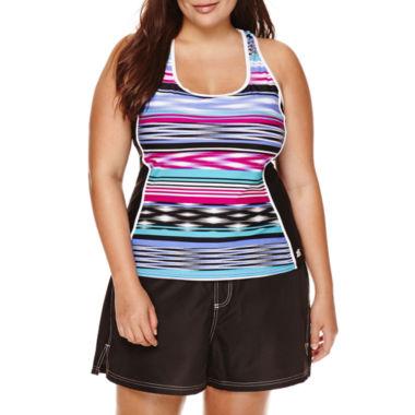 jcpenney.com | ZeroXposur® Echo Sport Striped Tankini or Woven Board Shorts - Plus