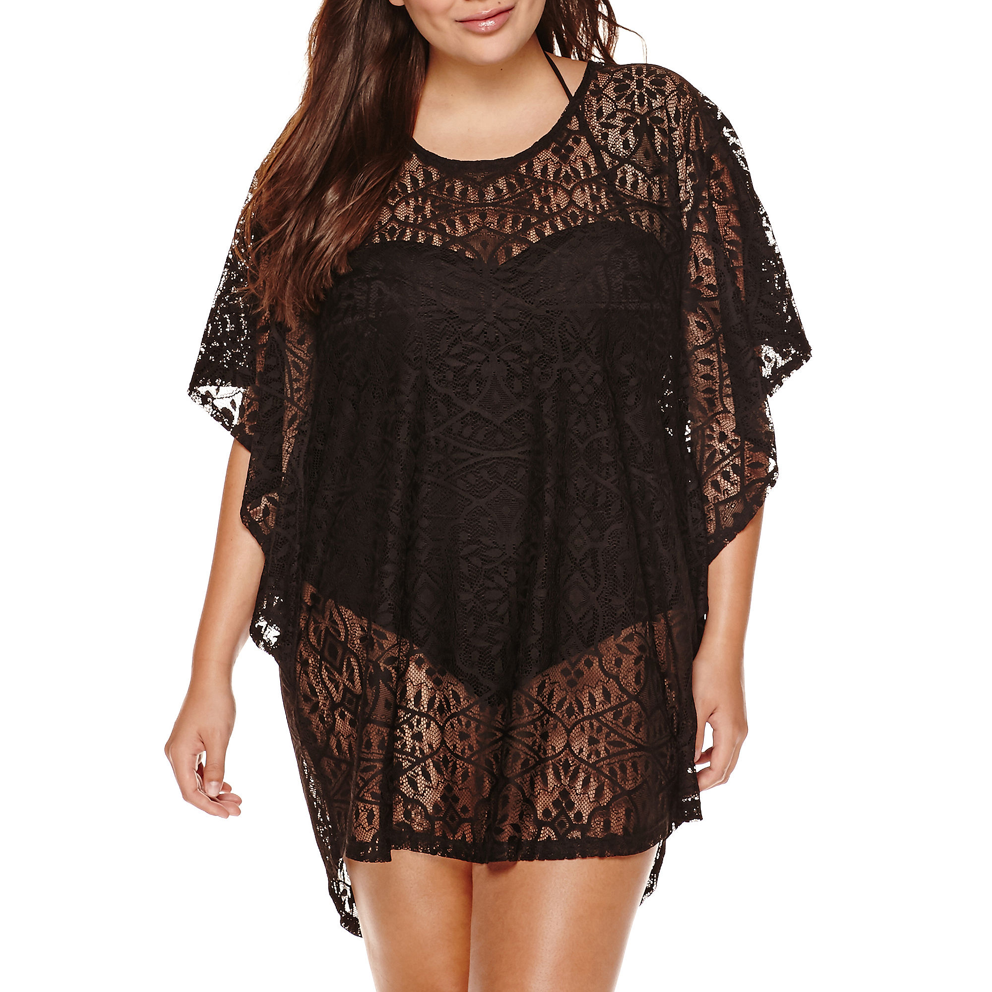 a.n.a Flutter-Sleeve Crochet Tunic Cover-Up - Plus plus size,  plus size fashion plus size appare