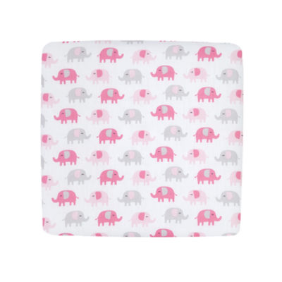 Carters Sateen Crib Sheet- Pink Elephant