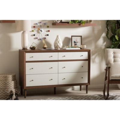 Baxton Studio Harlow Walnut Wood 6-Drawer Dresser