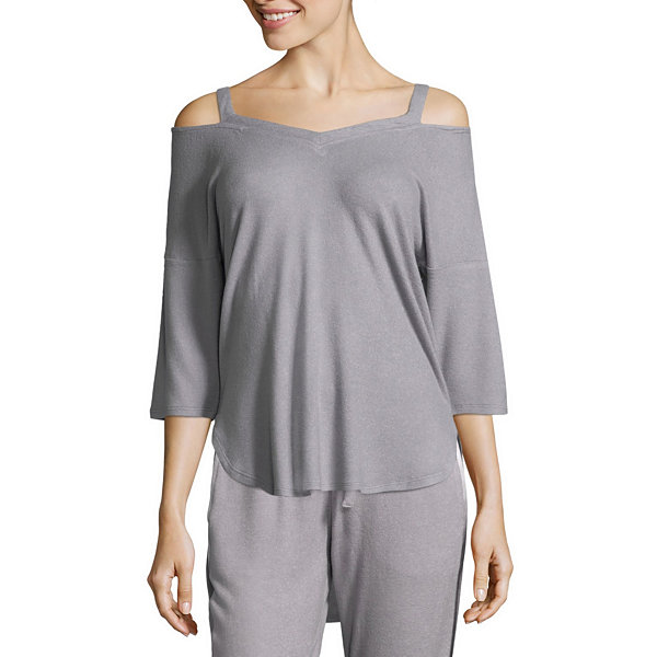 Ambrielle 3/4 Sleeve Strappy V-Back Pajama Top