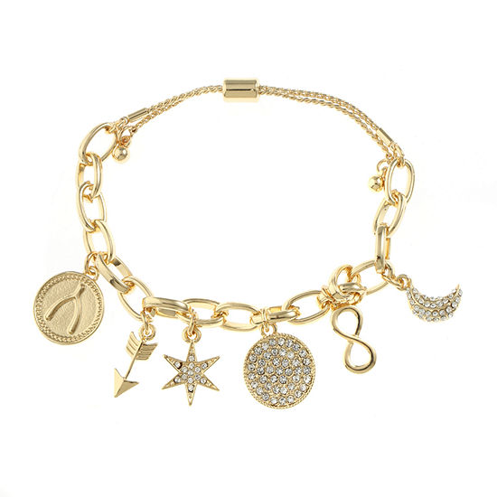 Liz Claiborne Clear Gold Tone Charm Bracelet